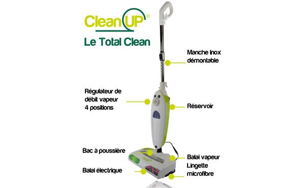 balai aspirateur et vapeur total clean