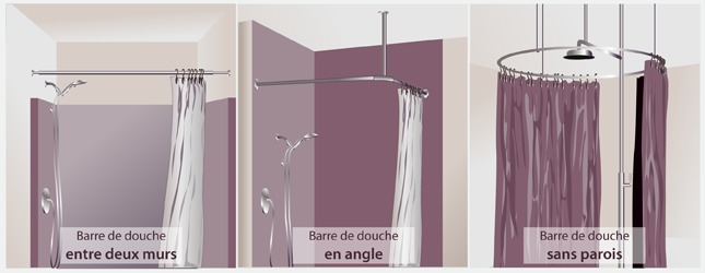 barre de douche en angle sans percer