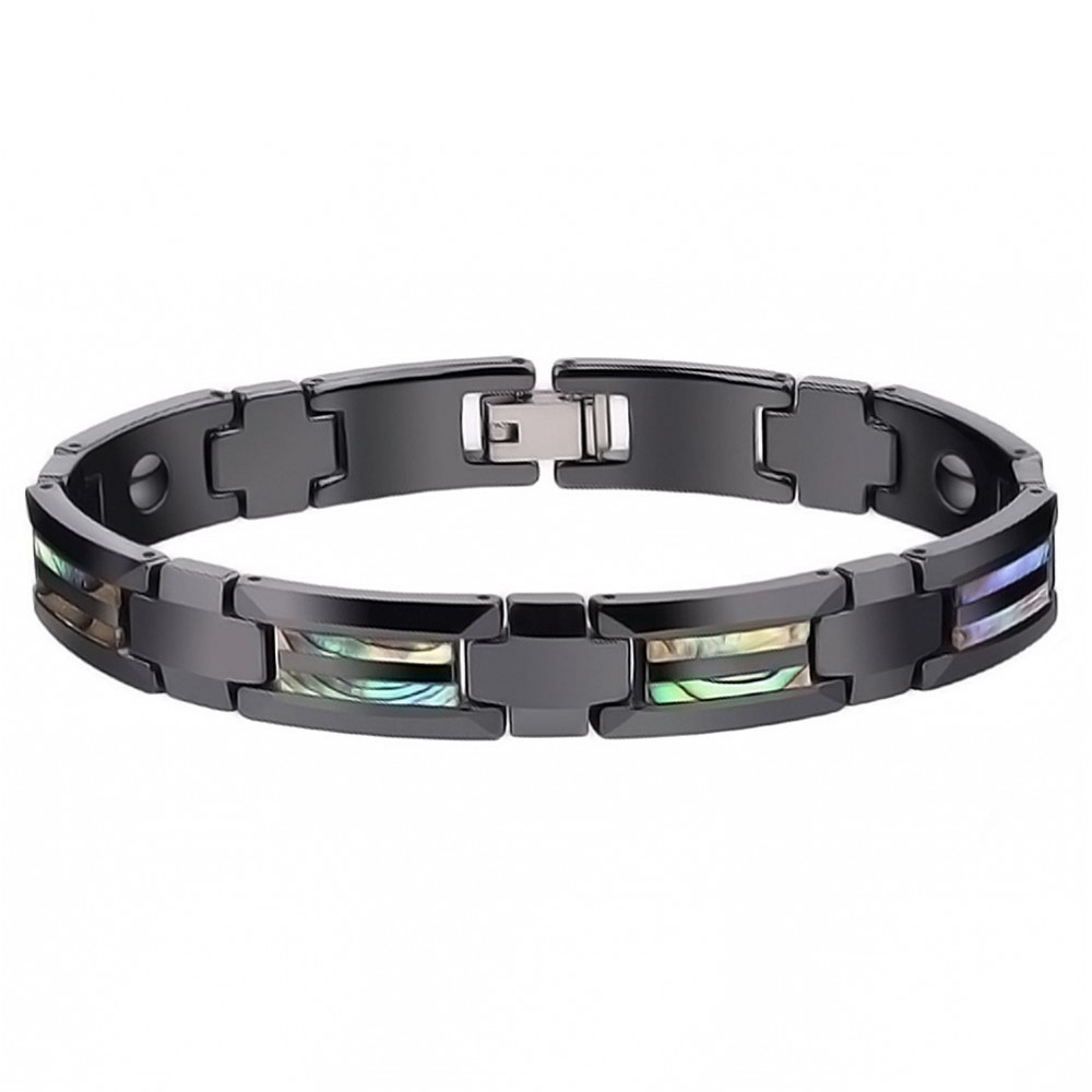 bracelet homme acier ceramique noir