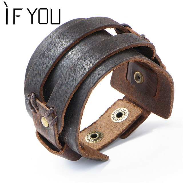 bracelet large homme cuir