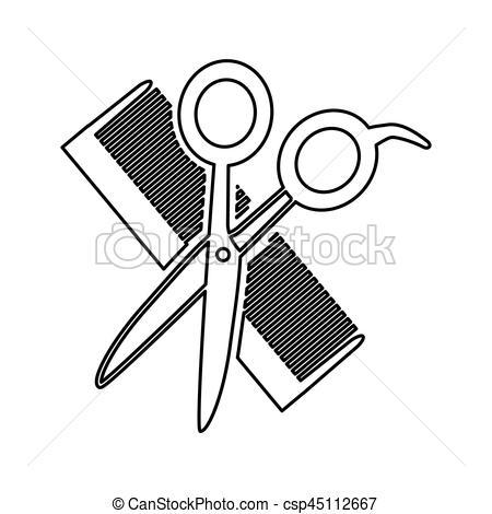 ciseaux peigne coiffure dessin