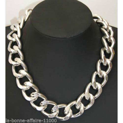 collier argent grosse maille femme