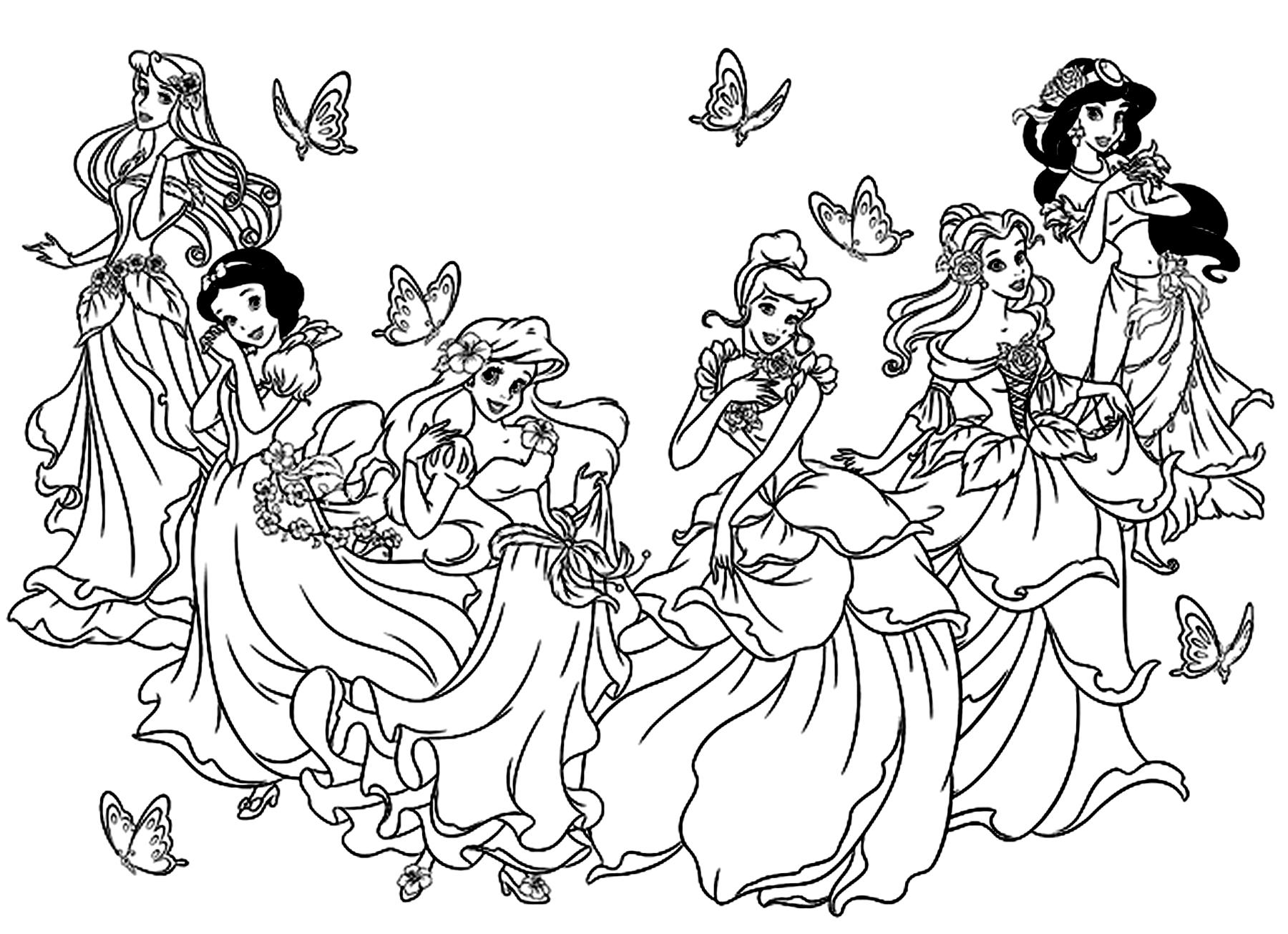 coloriage de toute les princesse